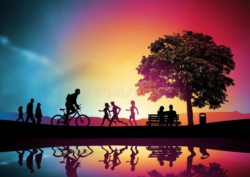 Gente activa en un parque ilustración del vector