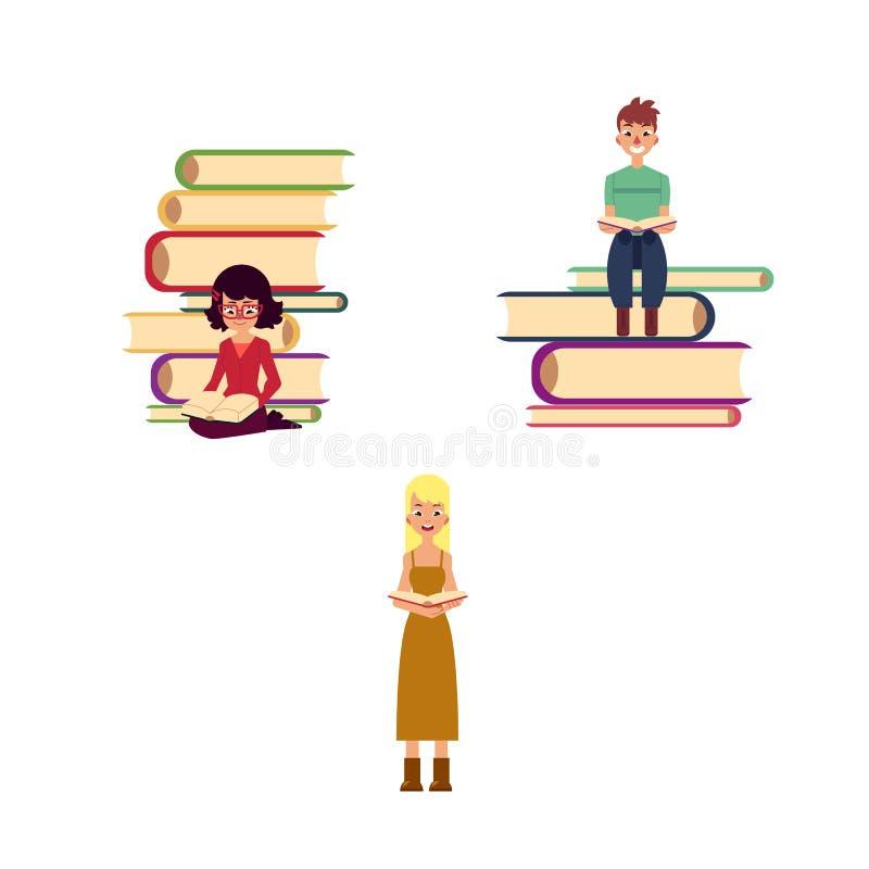 Gente adulta piana di vettore che legge insieme illustrazione vettoriale