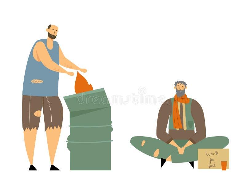 Gente adulta senza tetto che elemosinano soldi ed aiuto di bisogno, caratteri maschii che vivono sulla via, uomo in vestiti sporc illustrazione vettoriale