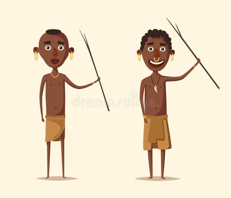 Gente africana Suramericano indígena Ilustración del vector de la historieta libre illustration