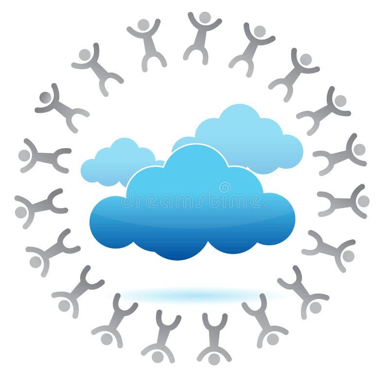Gente alrededor de un concepto computacional de la nube ilustración del vector