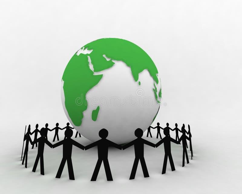 Gente alrededor del globo 006 ilustración del vector