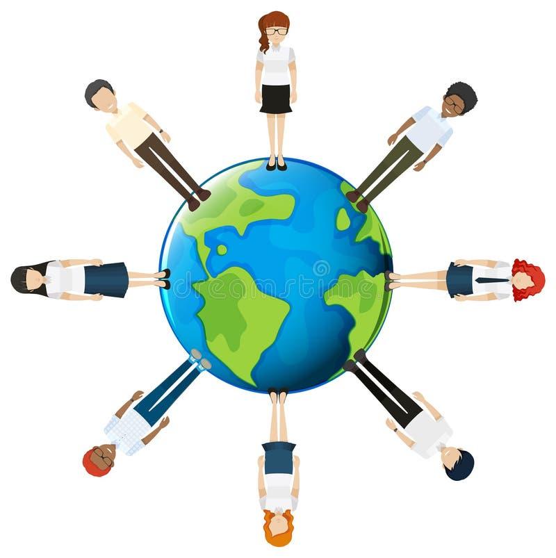 Gente alrededor del globo ilustración del vector