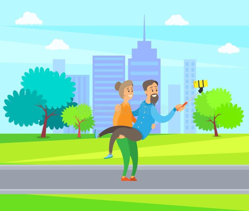 Gente anziana che prende la foto di Selfie nel parco della città della città illustrazione vettoriale