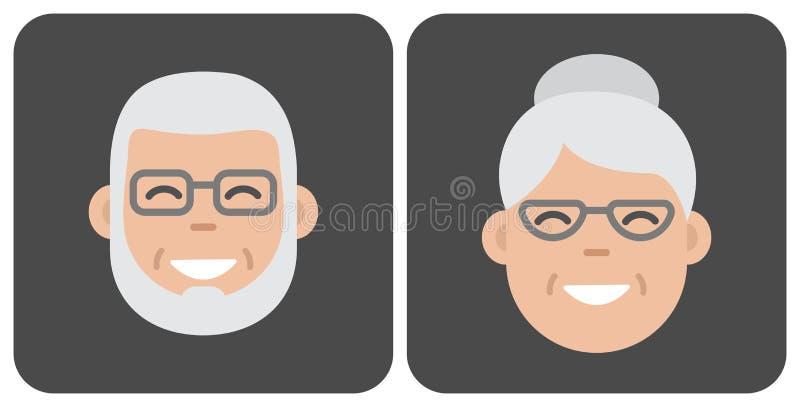 Gente anziana del fronte Illustrazione di vettore illustrazione di stock