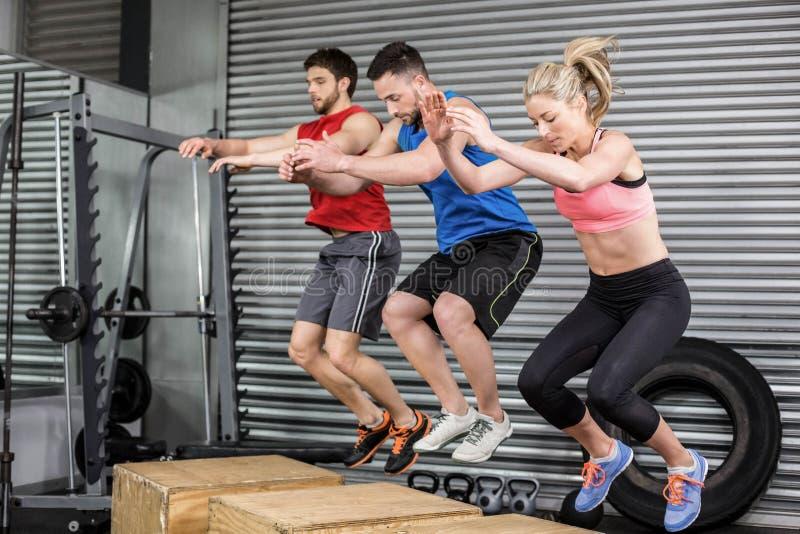 Gente apta que hace ejercicios con la caja fotografía de archivo