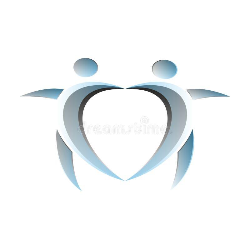 Gente astratta che ballano e simbolo di felicità in un modello di progettazione di logo di forma del cuore illustrazione vettoriale
