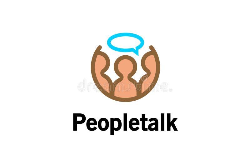 Gente astratta creativa che parla Logo Design Illustration illustrazione vettoriale