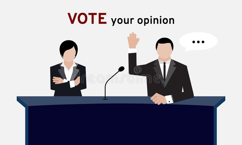 Gente autorizzata nella mano del vestito su spese generali e nella piegatura del braccio per il voto della mano e di elezione nel illustrazione vettoriale