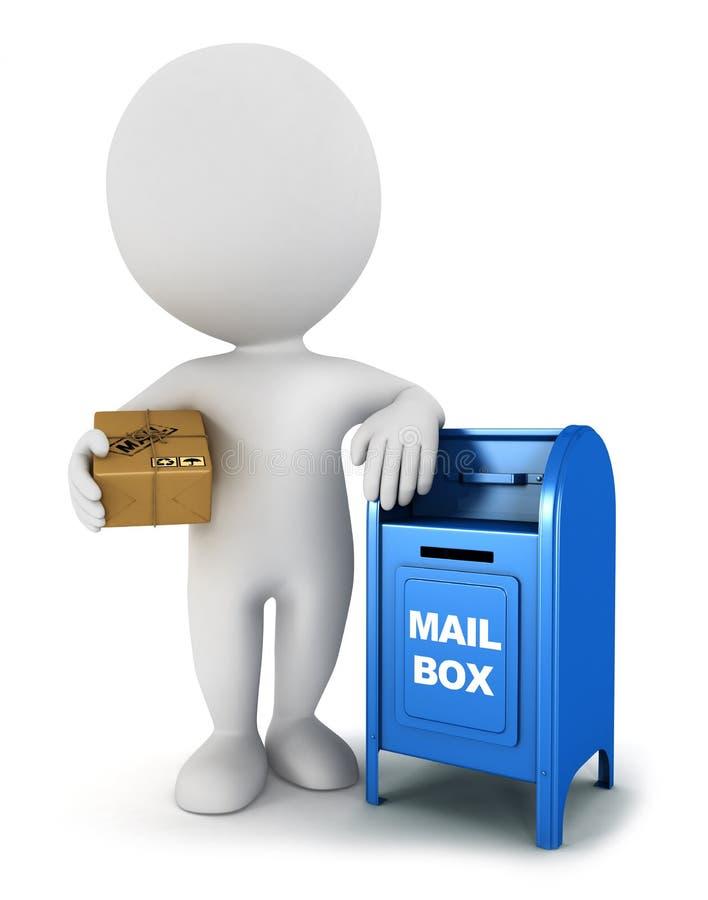 gente bianca 3d con un pacchetto della posta royalty illustrazione gratis