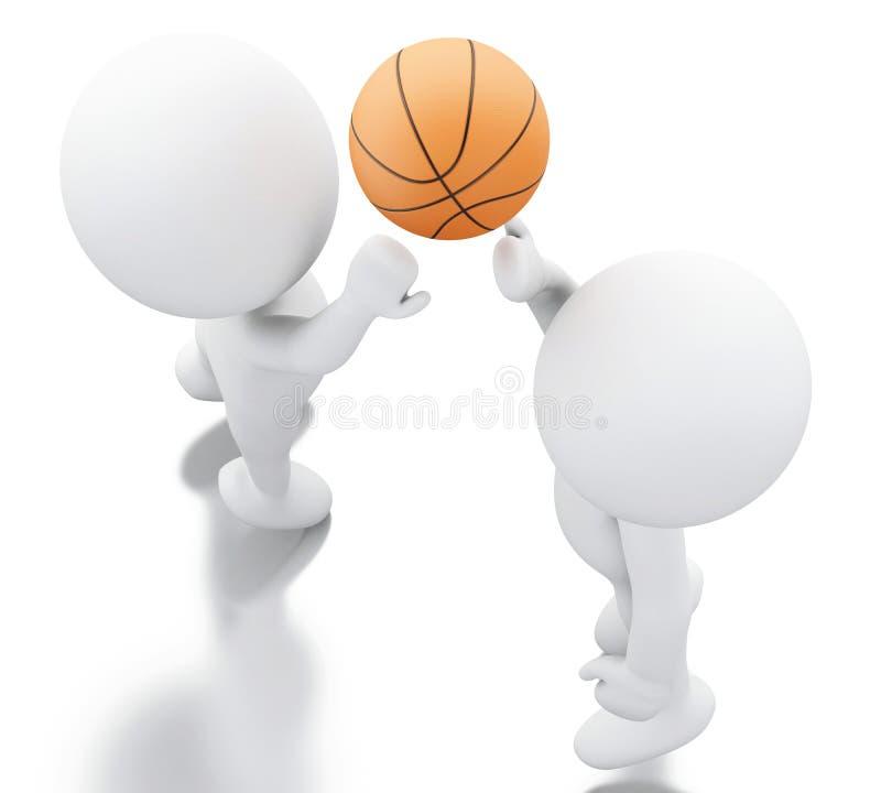 gente bianca 3d che gioca pallacanestro royalty illustrazione gratis