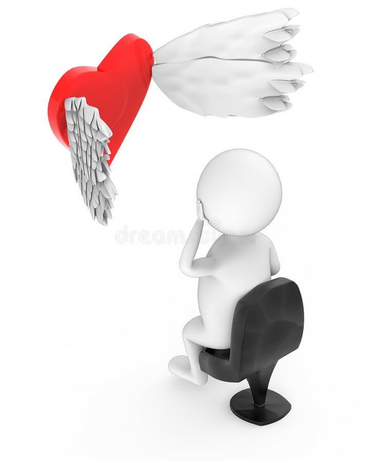 gente bianca 3d che si siede in una sedia e che osserva una forma di amore/cuore di volo con le sue piume royalty illustrazione gratis