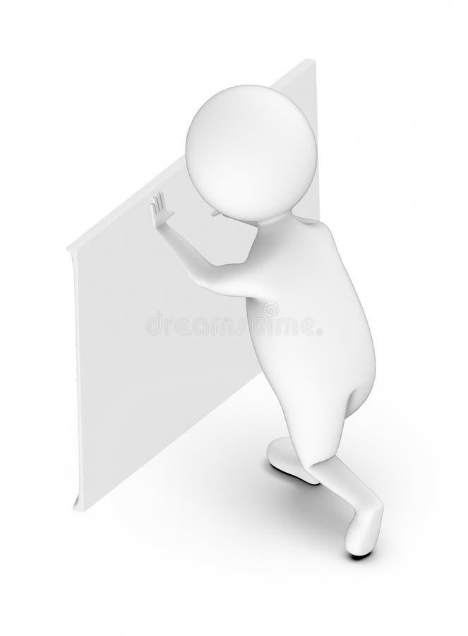 gente bianca 3d che spinge un bordo bianco illustrazione vettoriale