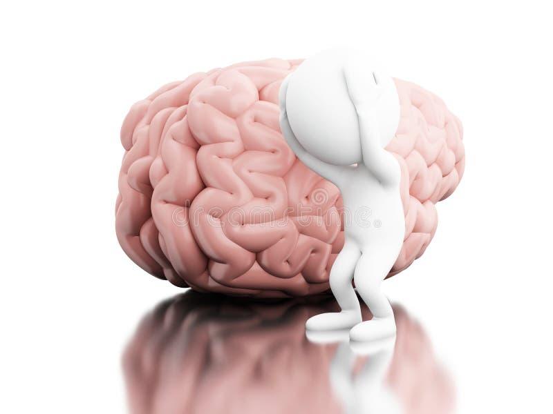 gente bianca 3D con dolore capo e un cervello illustrazione di stock
