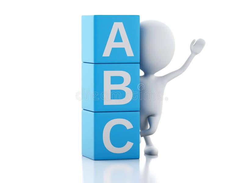 gente bianca 3d con i cubi di ABC su fondo bianco illustrazione vettoriale