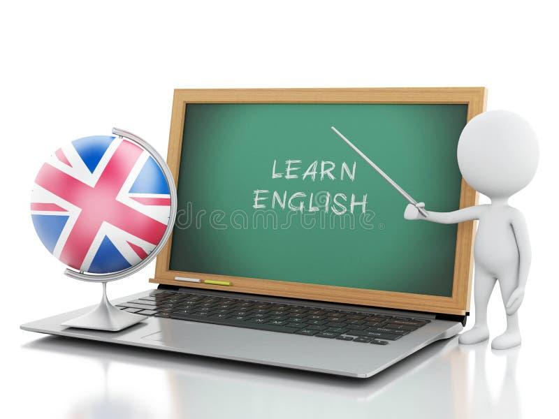 gente bianca 3d con il computer portatile Impari il concetto inglese royalty illustrazione gratis