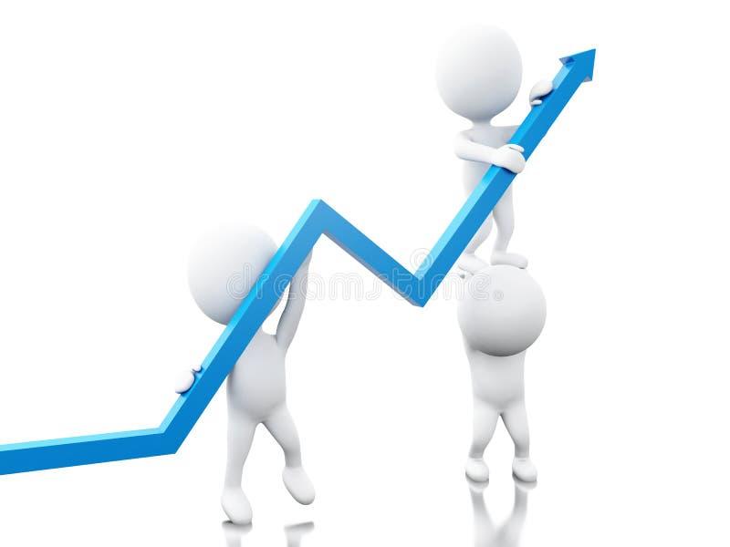 gente bianca 3d con la freccia di crescita illustrazione di stock