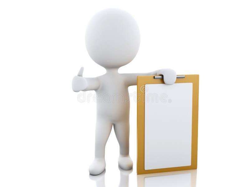 gente bianca 3d con la lavagna per appunti in bianco illustrazione di stock