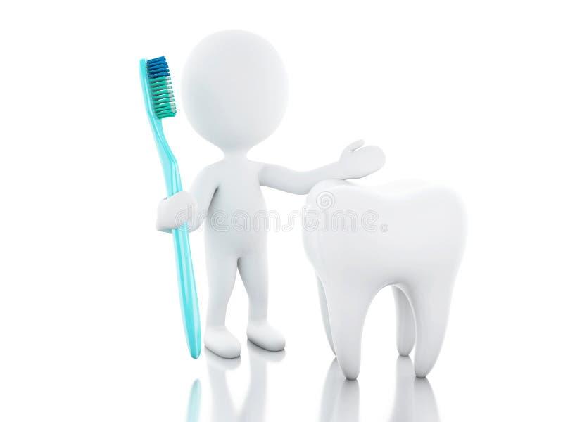 gente bianca 3d con lo spazzolino da denti ed il dente illustrazione di stock