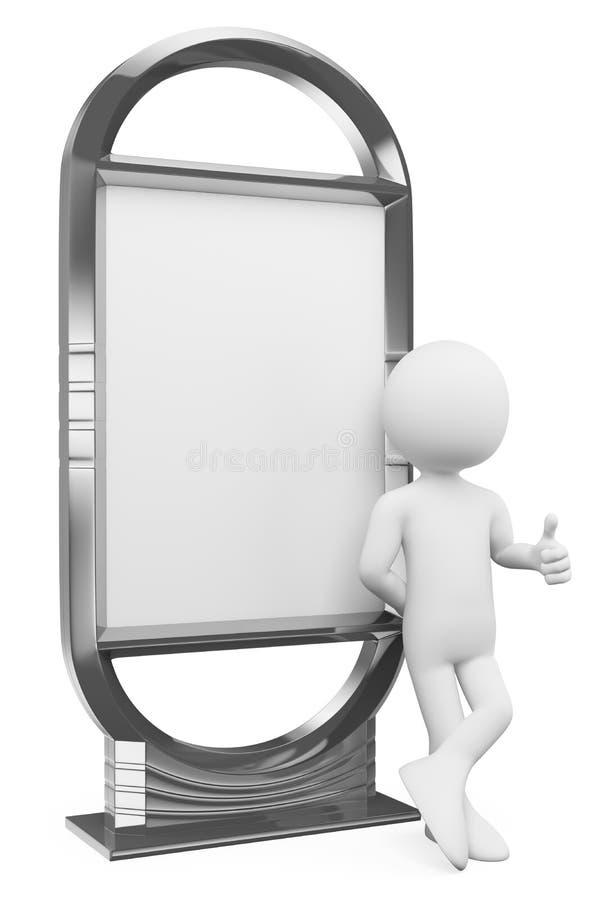 gente bianca 3D. Tabellone per le affissioni in bianco illustrazione vettoriale