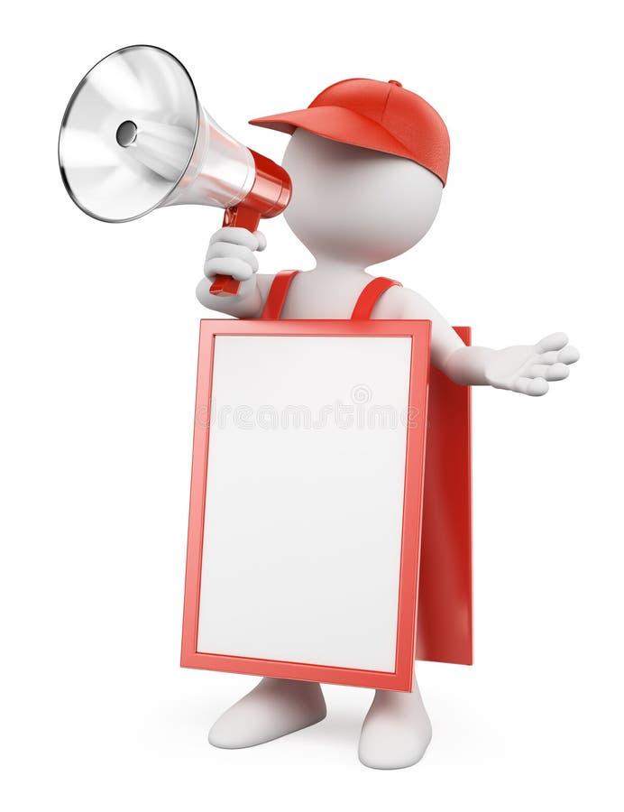 gente bianca 3D. Uomo in bianco del pettorale pubblicitario con un megafono illustrazione vettoriale