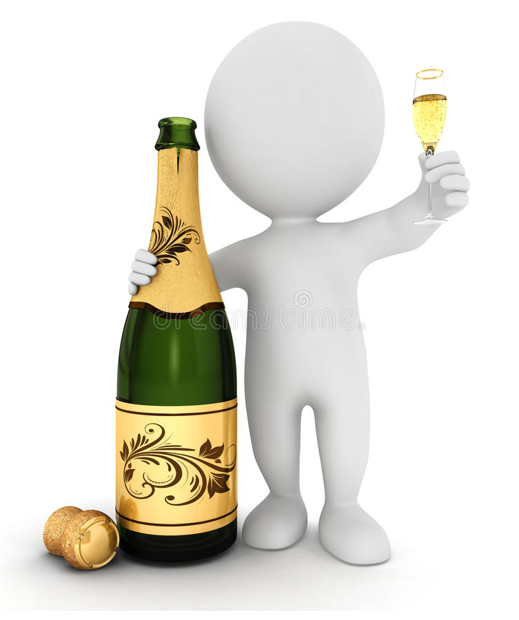 gente blanca 3d con champán stock de ilustración