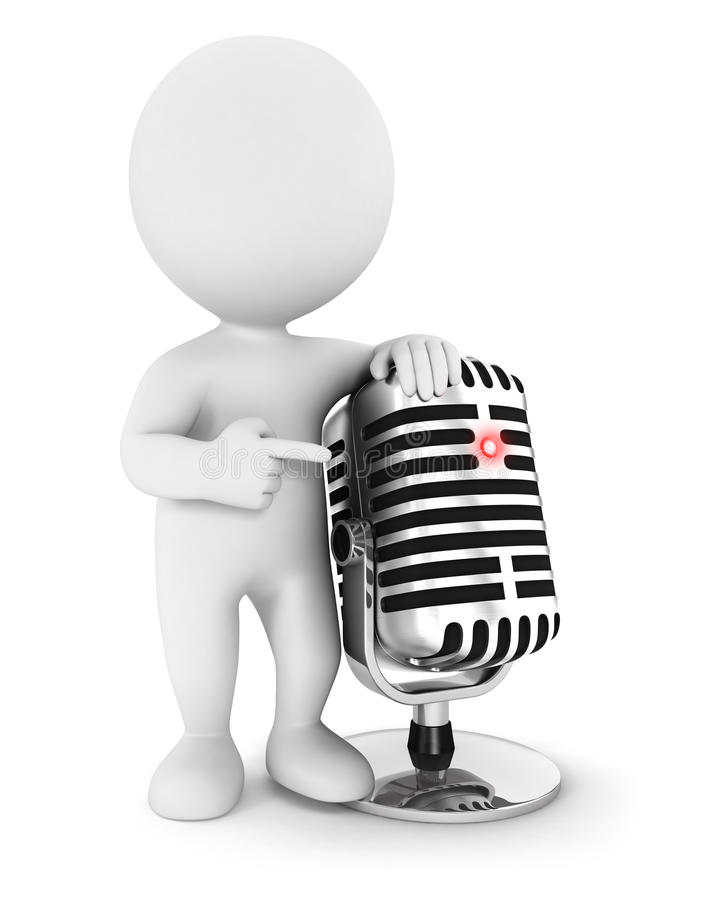 gente blanca 3d con un micrófono ilustración del vector