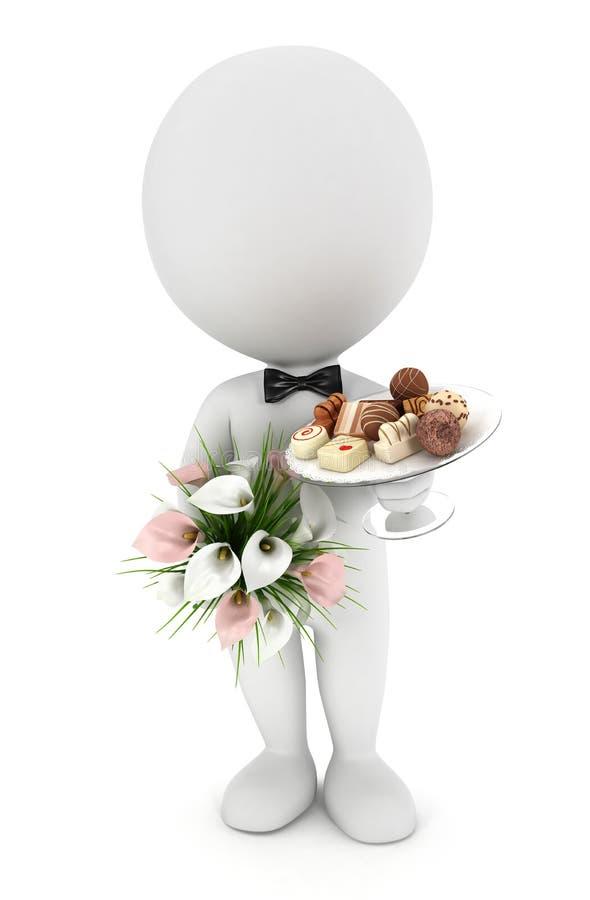 gente blanca 3d invitada a la boda stock de ilustración