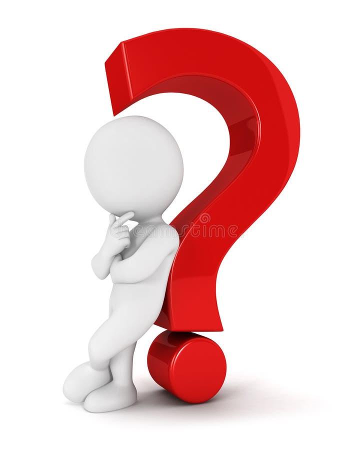 gente blanca 3d que se inclina detrás contra una pregunta stock de ilustración