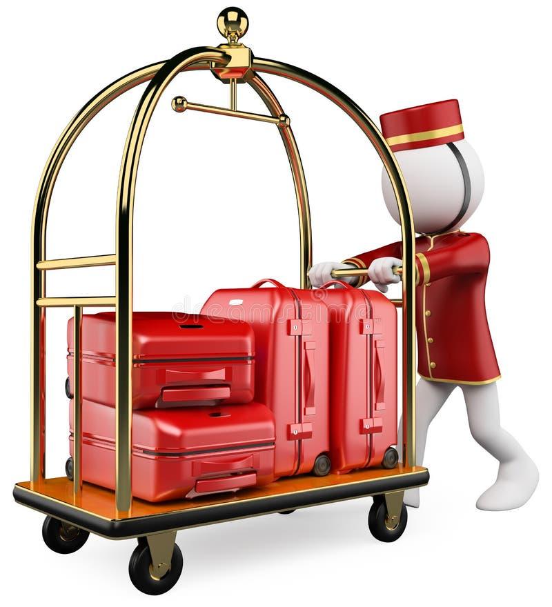 gente blanca 3D. Carro del equipaje del hotel ilustración del vector