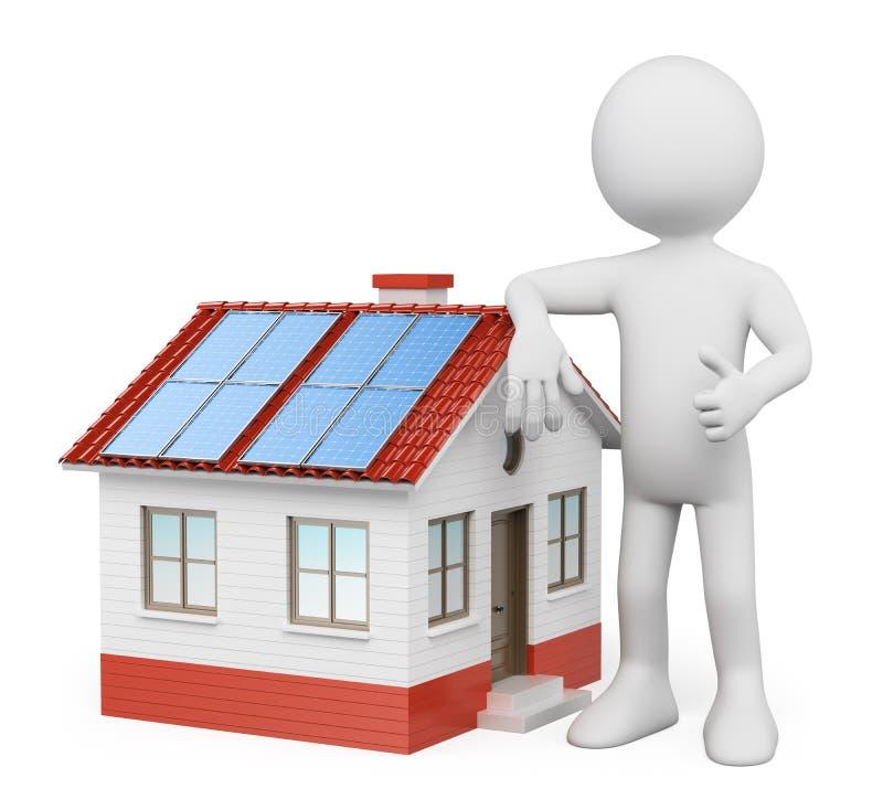 Gente Blanca 3D. Casa Con Los Paneles Solares Imagenes de archivo