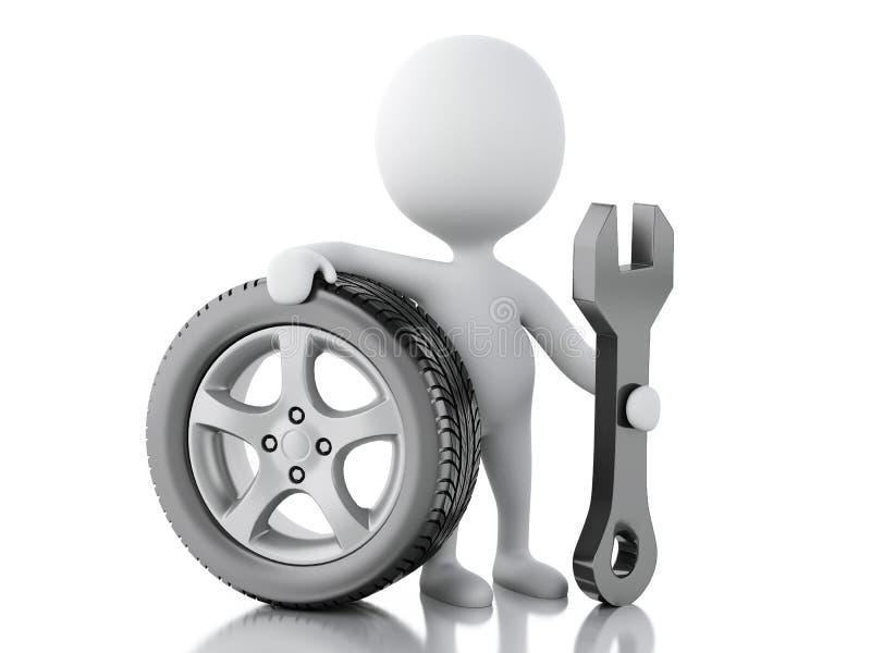 gente blanca 3d con el coche de la rueda libre illustration