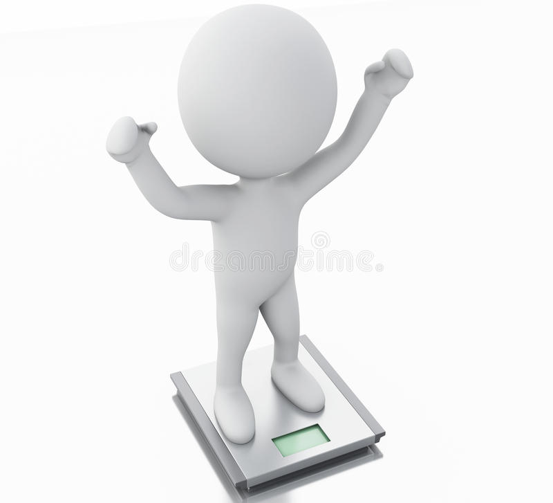 gente blanca 3d con el peso y la escala ideales stock de ilustración