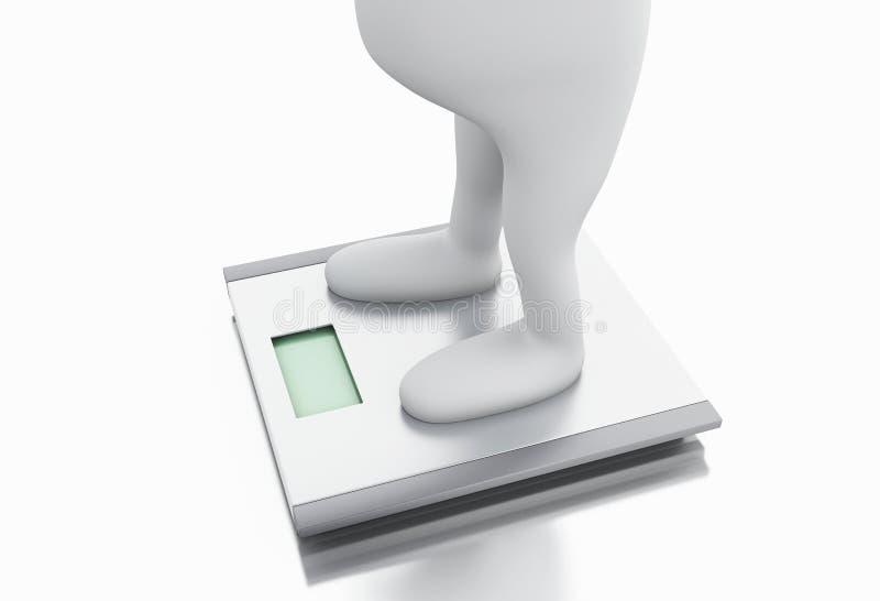 gente blanca 3d con exceso de peso y la escala stock de ilustración