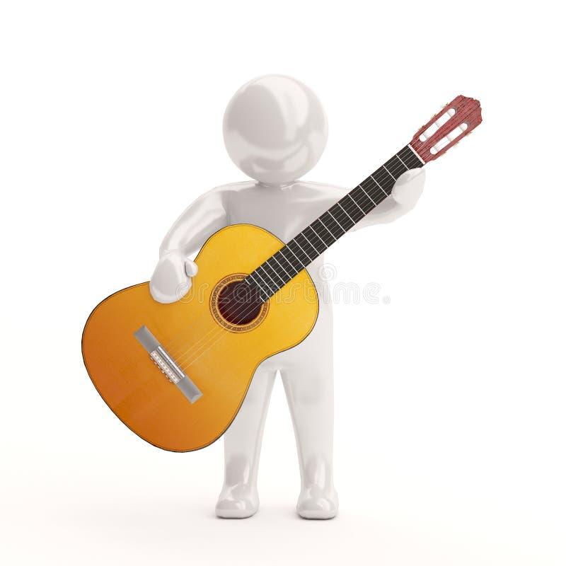 gente blanca 3d con una guitarra acústica stock de ilustración