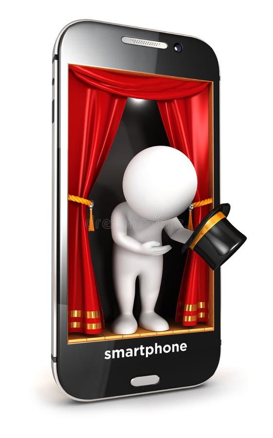 gente blanca 3d en etapa del smartphone stock de ilustración