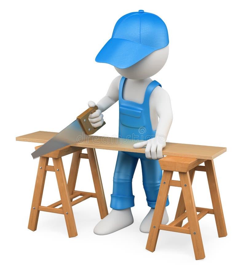 gente blanca 3D. Madera del corte del carpintero con un handsaw stock de ilustración