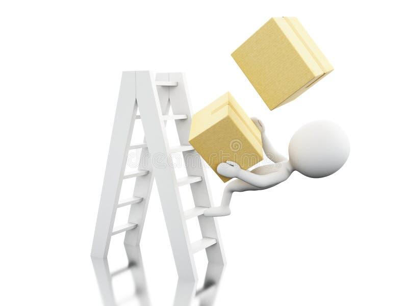 gente blanca 3d que cae apagado una escalera con las cajas stock de ilustración
