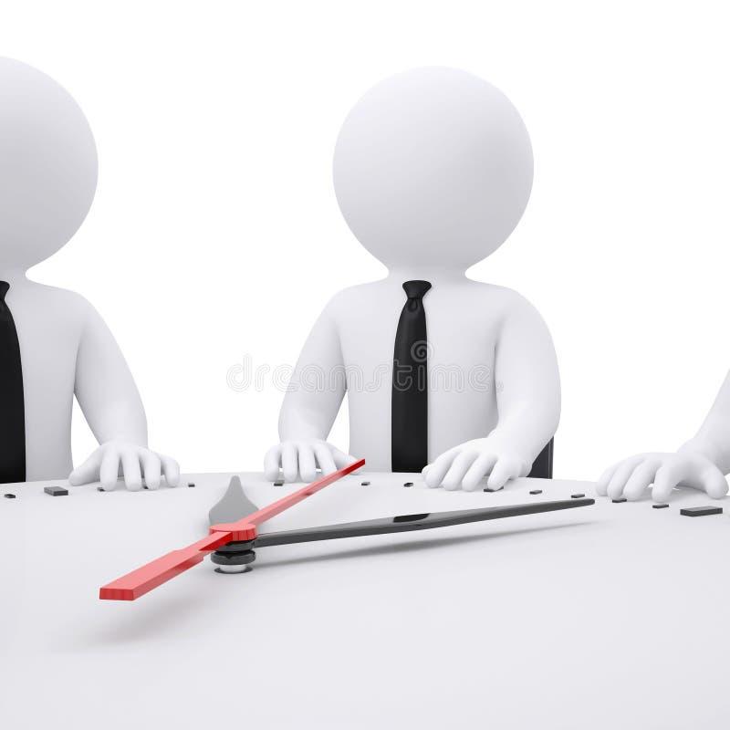 gente blanca 3d que se sienta en la mesa redonda stock de ilustración