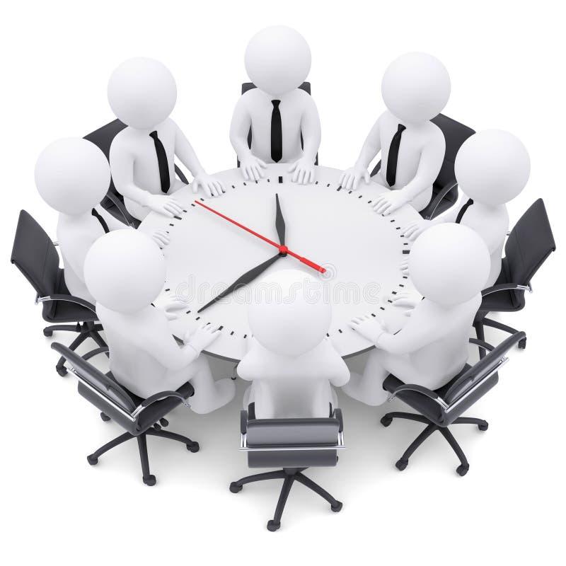 gente blanca 3d que se sienta en la mesa redonda ilustración del vector