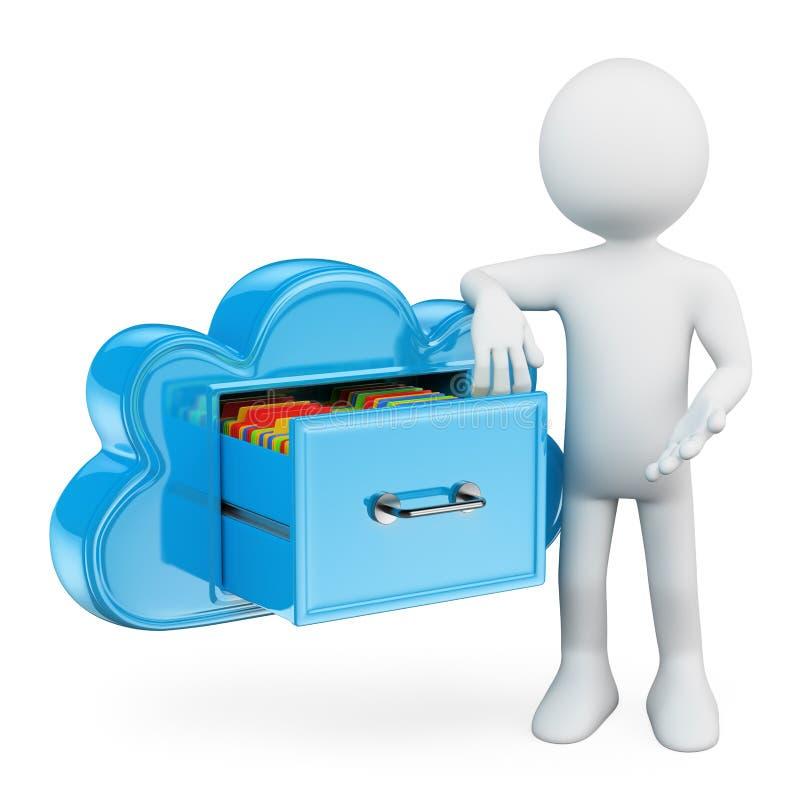 gente blanca 3D. Servicios del almacenamiento de la nube libre illustration