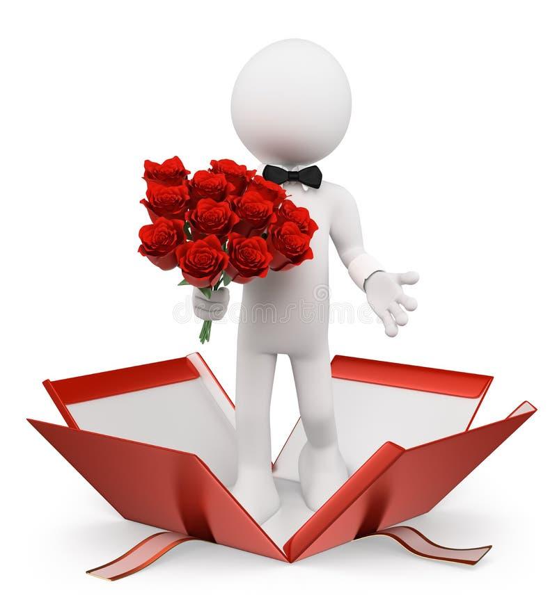 gente blanca 3D. Tarjetas del día de San Valentín. Hombre con un ramo de rosas stock de ilustración