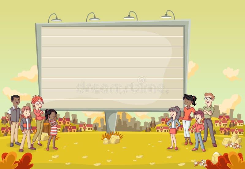 Gente colorida delante del parque colorido en la ciudad con una cartelera grande stock de ilustración