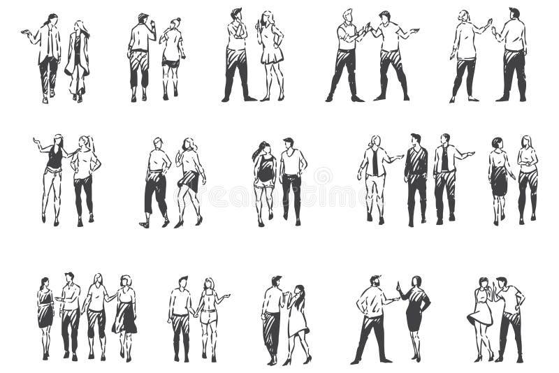 Gente comunicándose y caminando fuera del boceto conceptual Vector aislado dibujado a mano stock de ilustración
