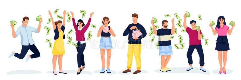 Gente con dinero, aislada de fondo blanco. Dibujo de dibujos animados planos vectoriales. Ganar dinero o ganar dinero libre illustration