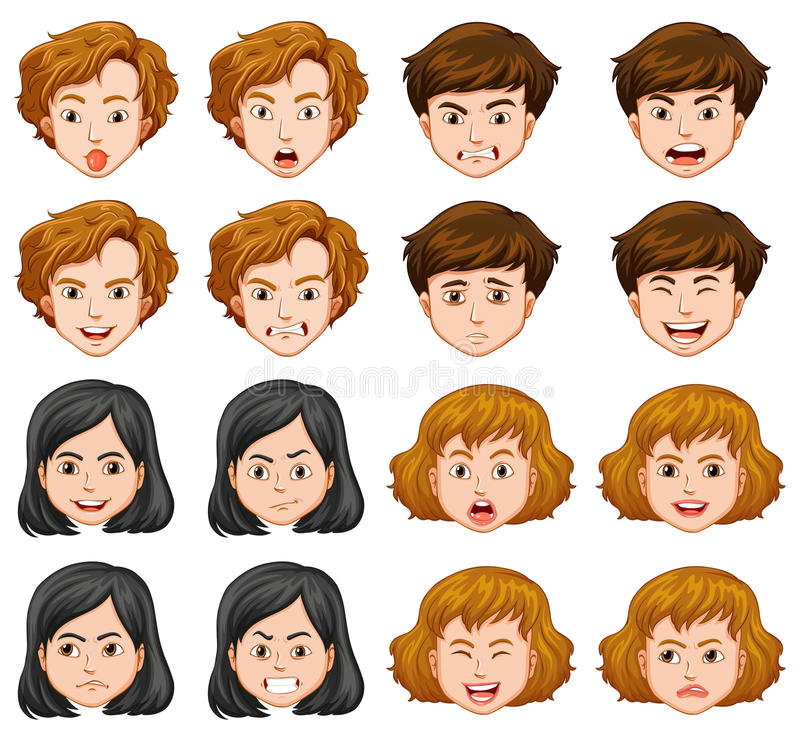 Gente con diversas expresiones faciales stock de ilustración