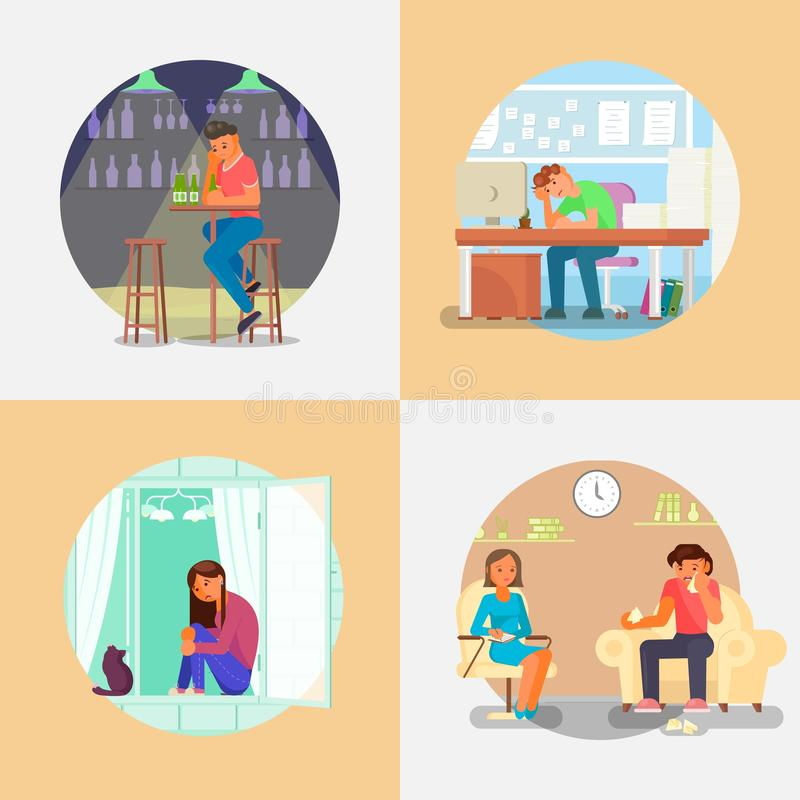 Gente con el ejemplo plano del estilo del vector de la depresión libre illustration