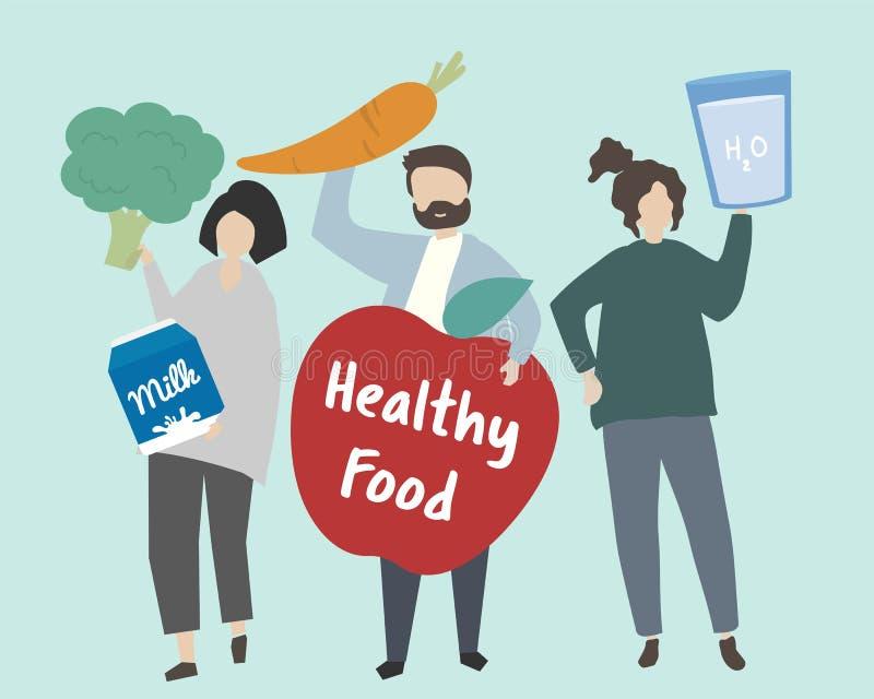 Gente con el ejemplo sano de la comida libre illustration