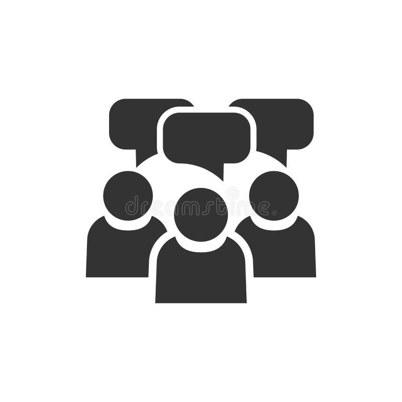 Gente con el icono de la burbuja del discurso en estilo plano Acuerdo del asunto libre illustration