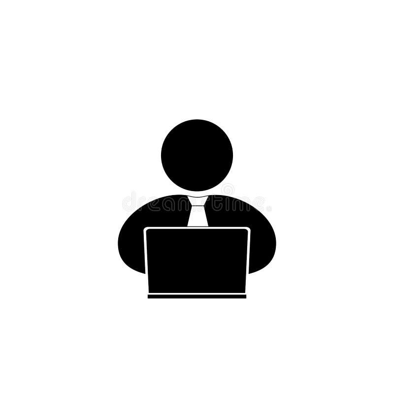 Gente con el ordenador, icono del ordenador portátil de la persona ilustración del vector